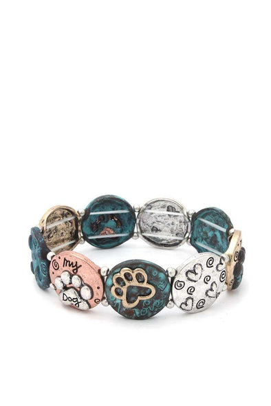 Two Tone Paw Stretch Bracelet - Babe Shoppe