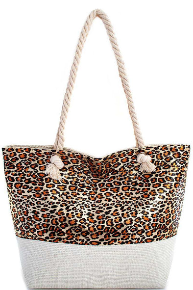 Holographic Leopard Print Tote Bag - Babe Shoppe