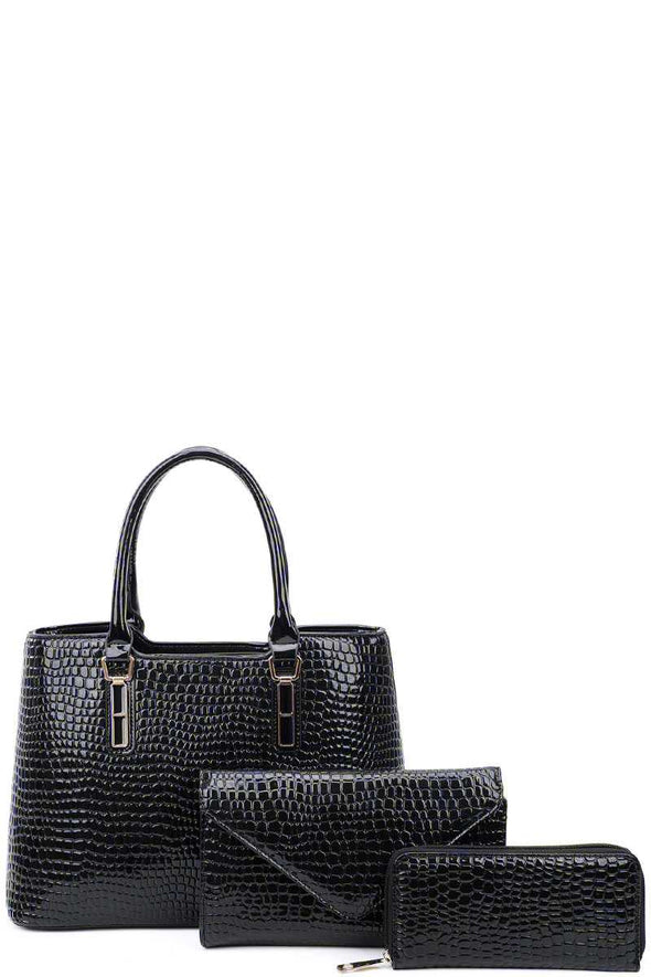 3in1 Glossy Croco Textured Satchel Clutch And Wallet Set - Babe Shoppe