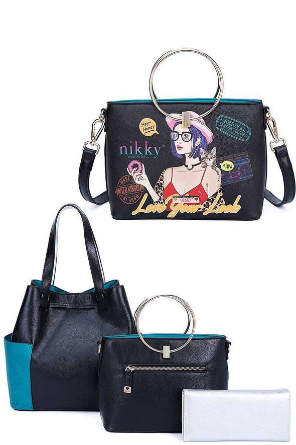 Nikky By Nicole Lee 3in1 Love Your Look Print Satchel Shoulder Bag And Wallet Set - Babe Shoppe