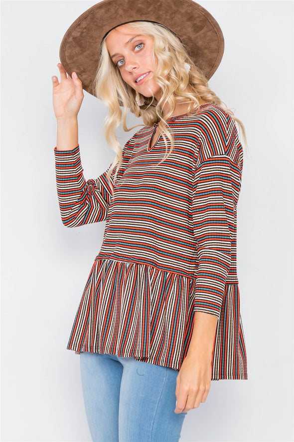 Multi Retro Stripe Front Keyhole Scoop Neck Peplum Top - Babe Shoppe