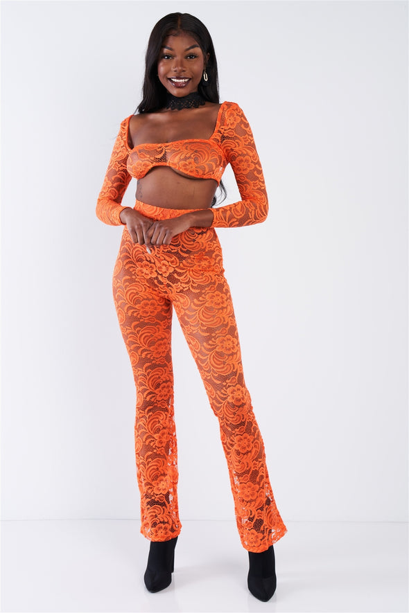 Sheer Floral Lace Crop Square Neck Top & High Waist Flare Pant Set - Babe Shoppe