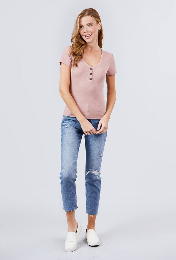 Short Sleeve V-neck W/button Detail Rib Knit Top - Babe Shoppe