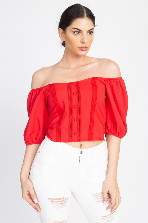 Lace Trim Off Shoulder Crop Top - Babe Shoppe