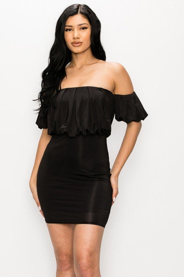 Off-the-shoulder Puff Sleeve Mini Dress - Babe Shoppe