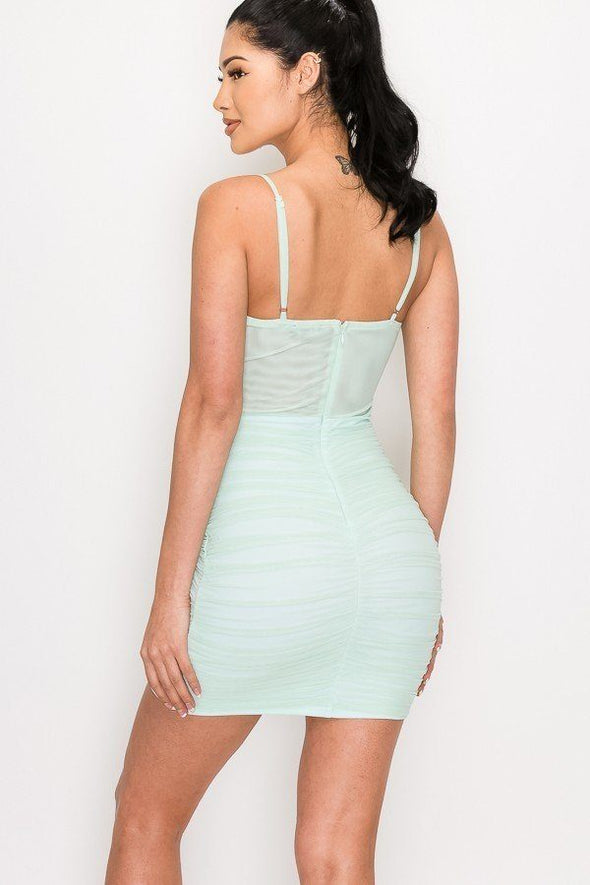 Ruched Mesh Layer Strap Mini Dress - Babe Shoppe