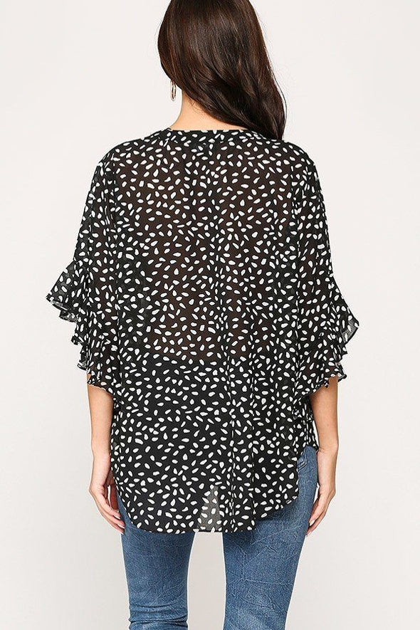 Leopard Printed Crepe Top - Babe Shoppe
