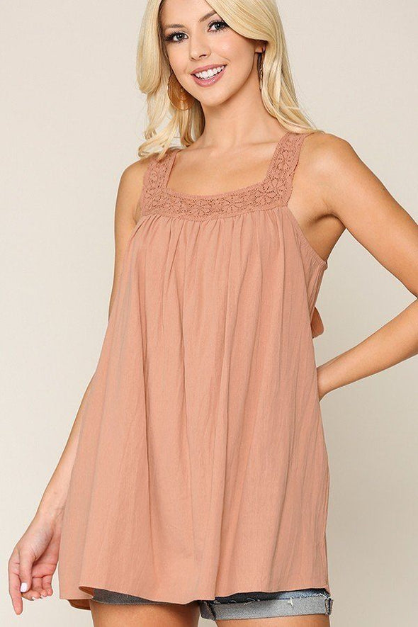 Square Neck Crochet Trim Sleeveless Top - Babe Shoppe