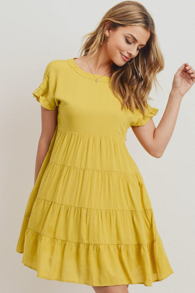 Round Neck Can Can Ruffled Dress - Babe Shoppe