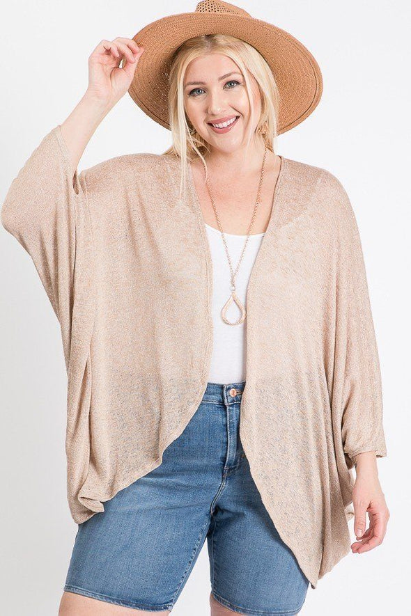 Open Front Cardigan Back V-neck Kimono Sleeves - Babe Shoppe