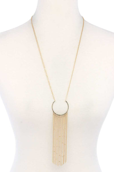 Open Circle Chain Multi Strand Pendant Necklace - Babe Shoppe