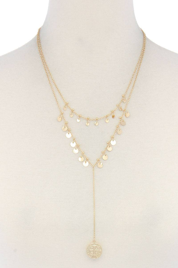 Coin Dangle Y Shape Necklace - Babe Shoppe