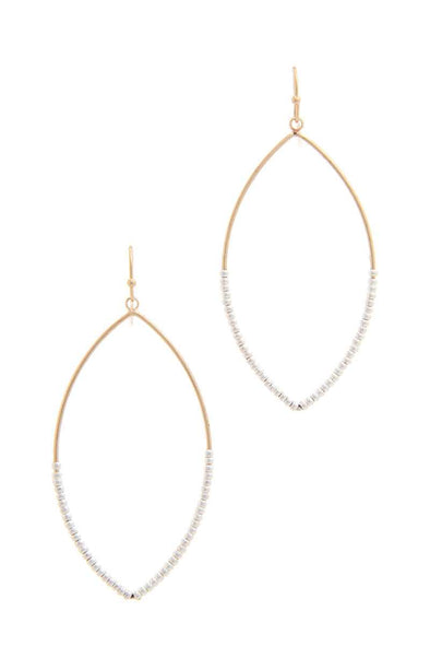 Beaded Pointed Oval Drop Earring - Babe Shoppe