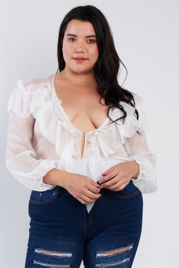 Plus Size Sheer V-neck Frill Silk Full Bottom Snap Bodysuit - Babe Shoppe