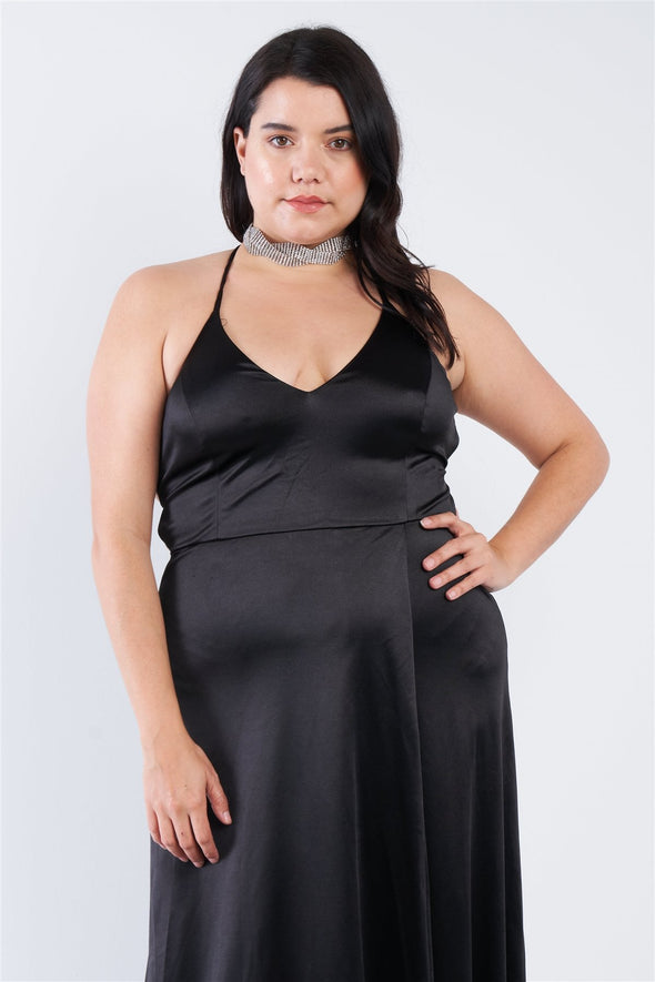 Plus Size Satin Open Criss Cross Back Maxi Dress - Babe Shoppe