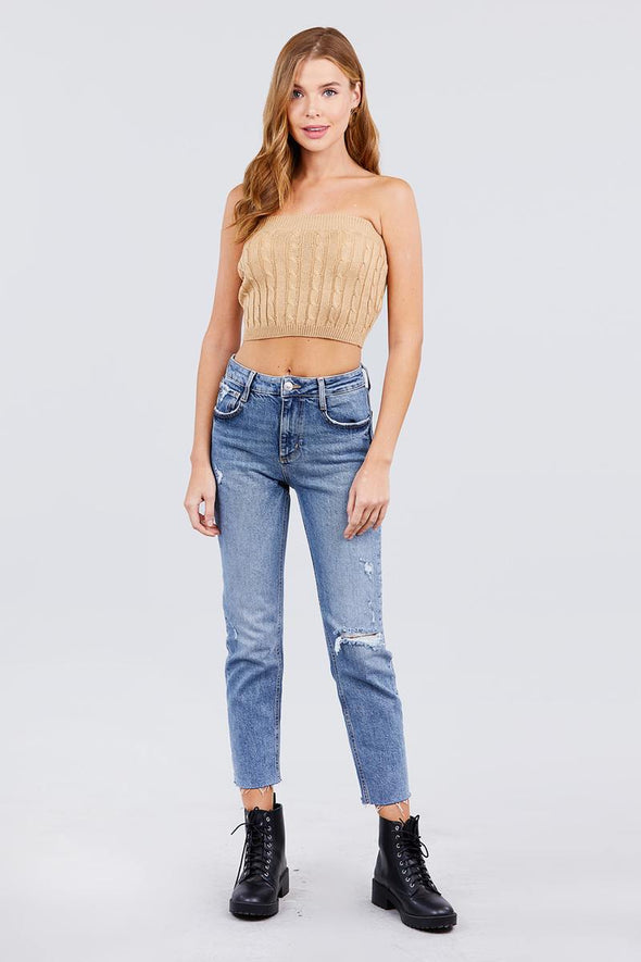 Twisted Effect Tube Sweater Top - Babe Shoppe