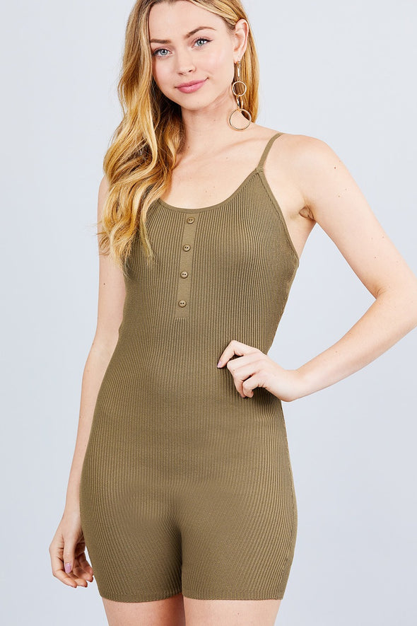 Round Neck Button Detailed Cami Sweater Romper - Babe Shoppe