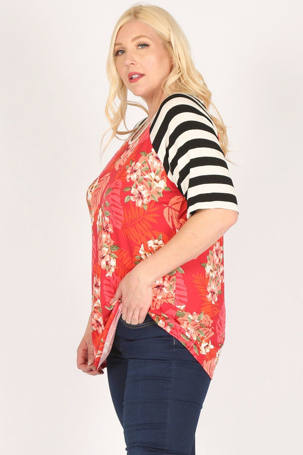 Plus Size Striped Sleeves Flower Print Contrast Tunic Top - Babe Shoppe