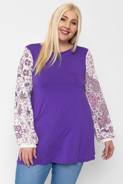 Floral Print, Contrasting Bubble Sleeves Tunic With A Round Neckline. - Babe Shoppe