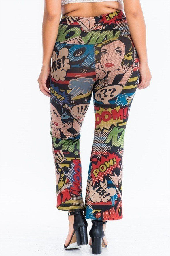 Comic Print, Flared Yoga Pants - Babe Shoppe