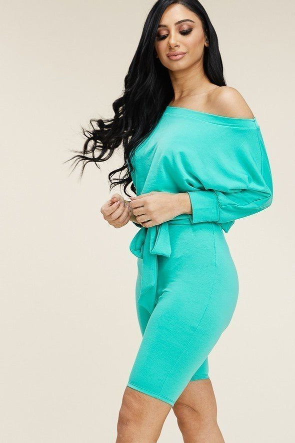 Slouchy Solid French Terry 3/4 Sleeve Romper With Tie Waist - Babe Shoppe