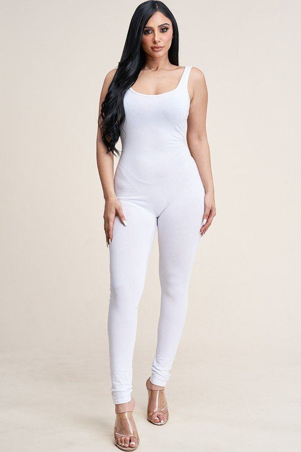 Solid Cotton Basic Jumpsuit With U Back Line - Babe Shoppe