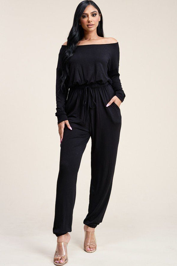 Solid Rayon Spandex Slouchy Jumpsuit With Pockets - Babe Shoppe