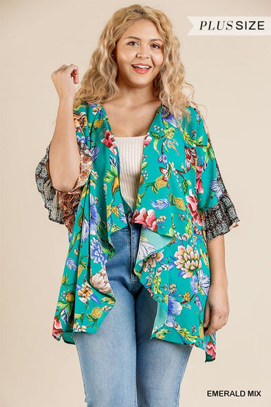 Floral Mixed Print Ruffle Bell Sleeve Open Front Kimono With Side Slits - Babe Shoppe