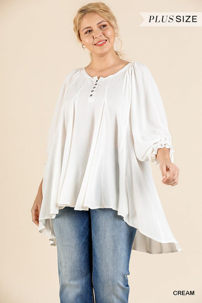 Ruffle Tie Sleeve Button Round Neck Tunic With High Low Hem - Babe Shoppe