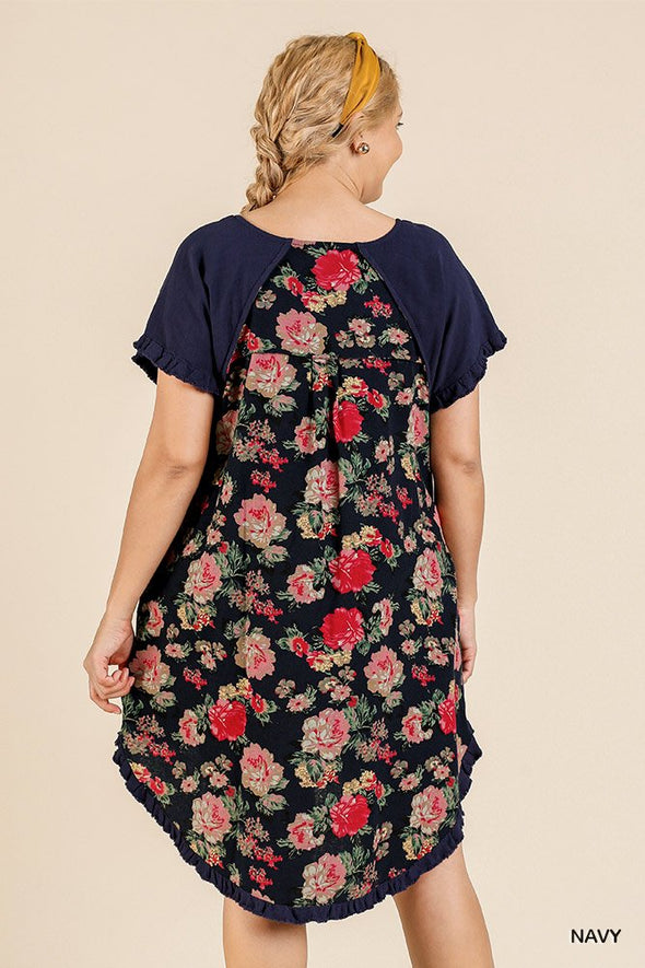 Short Sleeve Round Neck Dress With Floral Print Back And High Low Scoop Ruffle Hem - Babe Shoppe