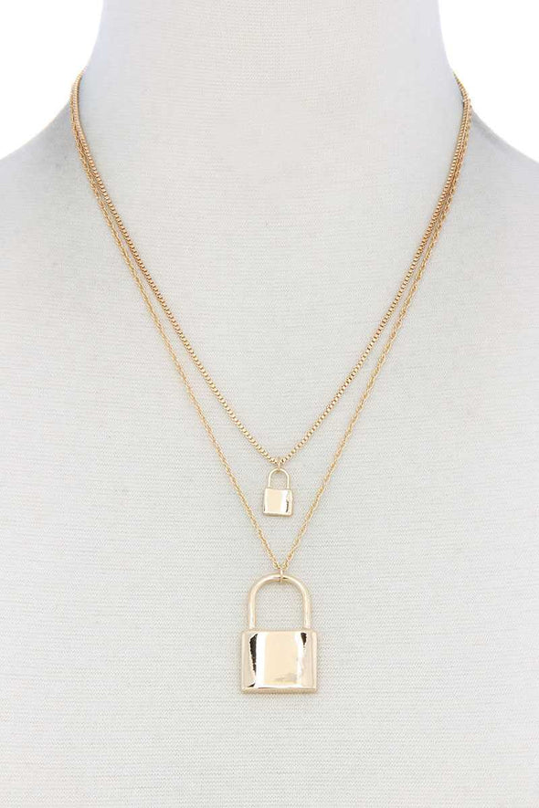 Sodajo Lock Charm Layered Necklace - Babe Shoppe