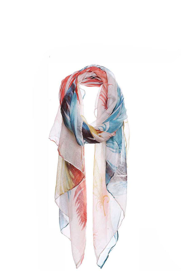 Chic Soft Multi Color Feather Print Scarf - Babe Shoppe