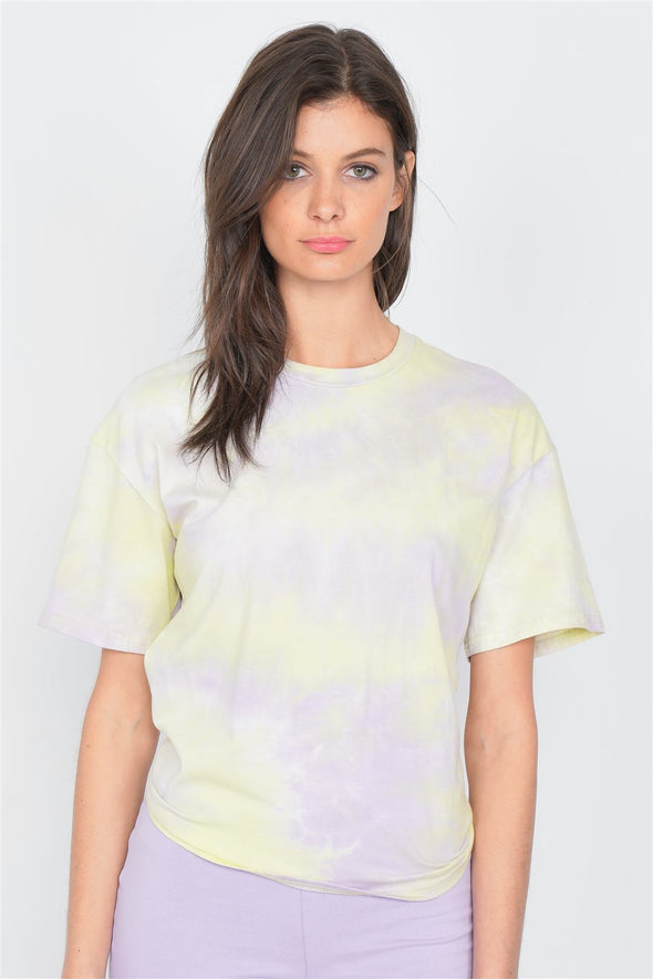 Yellow Tie Dye Back Cut Out Knot Vintage Relaxed Fit Tee - Babe Shoppe