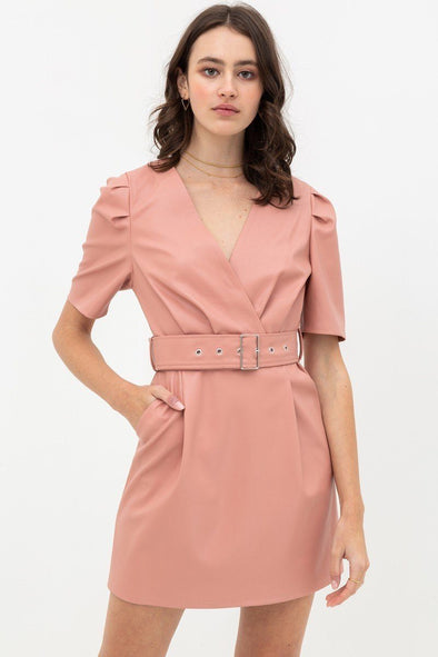 Pleather Dress With Belt Buckle Across Waist. Short Sleeve With V Neckline - Babe Shoppe