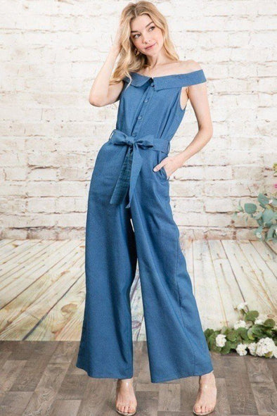 Fold-over Collar Detailed Button Down Off-shoulder Chambray Denim Wide Leg Palazzo Jumpsuit With Waist Tie
