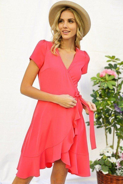 Solid Basic Ruffle Detailed Tulip Overlay Short Sleeve Surplice Dress With Ribbon Tie Waist Detail - Babe Shoppe
