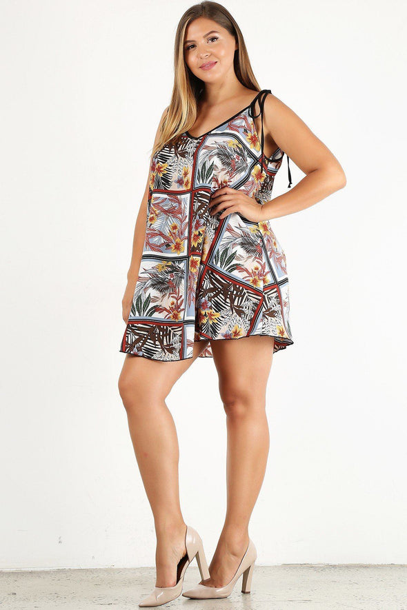 Plus Size Printed Shift Dress With A V-neck And Floral Detail - Babe Shoppe
