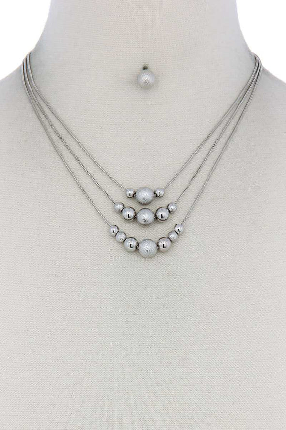 Metal Bead Layered Necklace - Babe Shoppe