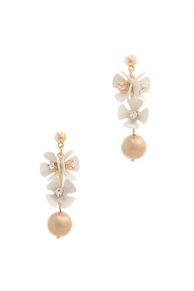 Flower Metal Bar Post Drop Earring - Babe Shoppe