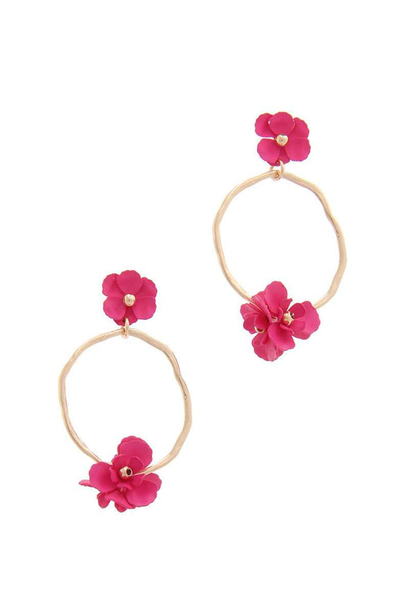 Flower Circle Post Drop Earring - Babe Shoppe