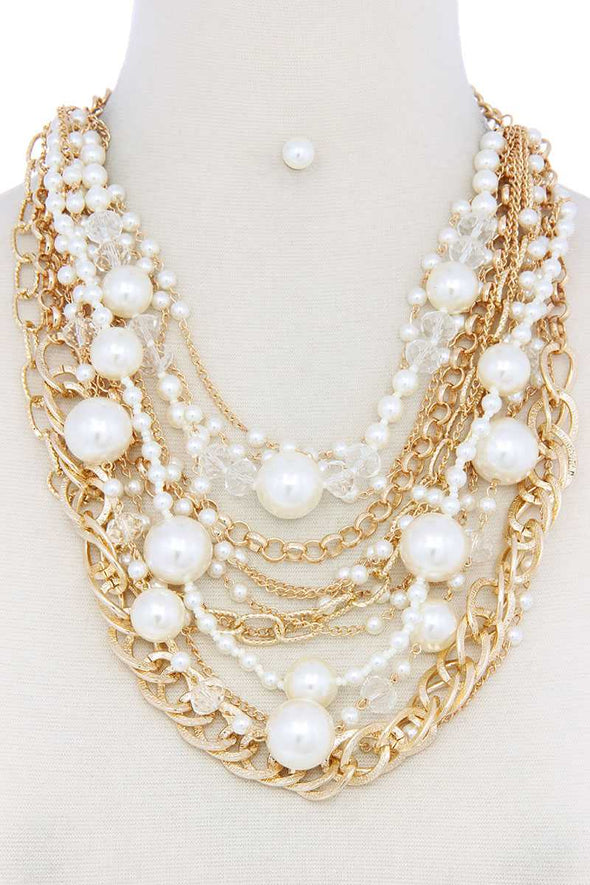 Chunky Pearl Metal Layered Necklace - Babe Shoppe