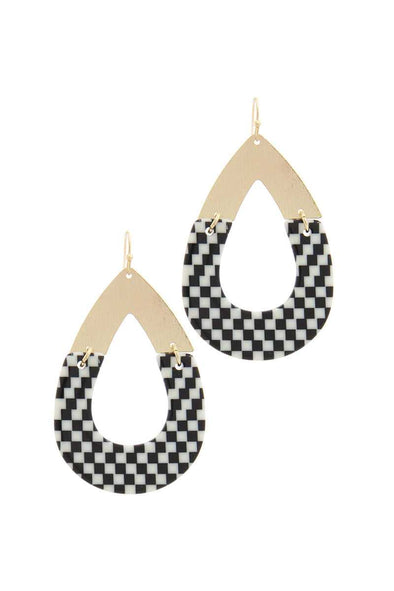 Half Metal Half Pattern Teardrop Shape Earring - Babe Shoppe