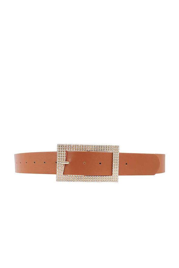 Fashion Rhinestone Square Buckle Belt - Babe Shoppe