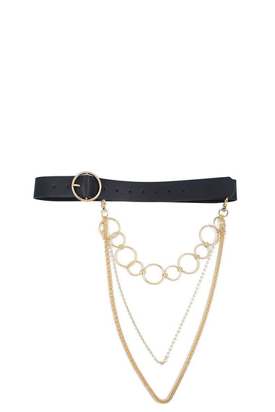 Fashion Round Buckle Belt With Triple Layer Chain Accent - Babe Shoppe
