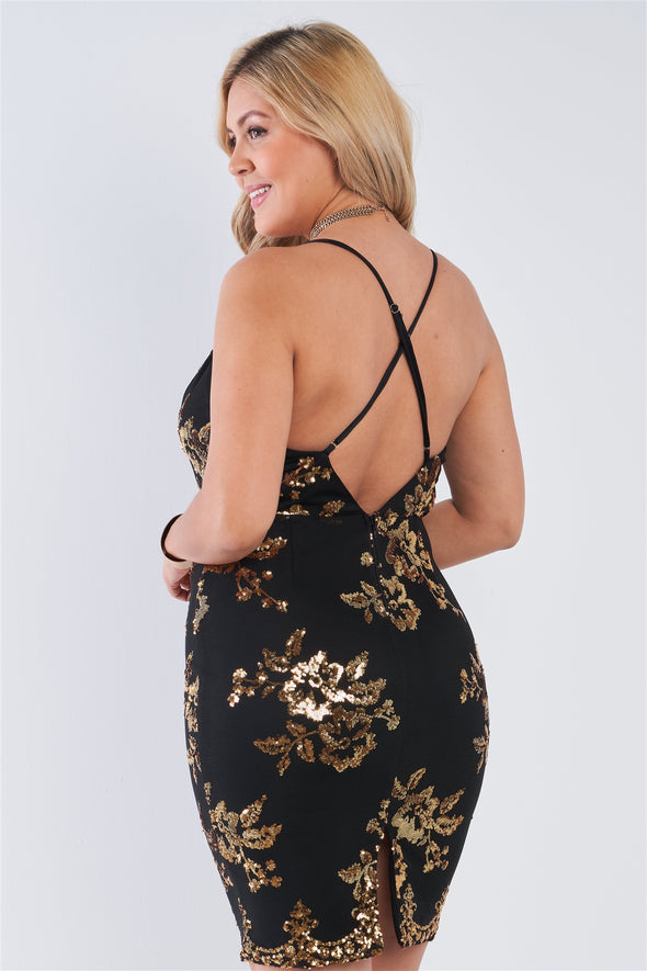 Plus Size Black Gold Sequin Criss Cross Open - Babe Shoppe