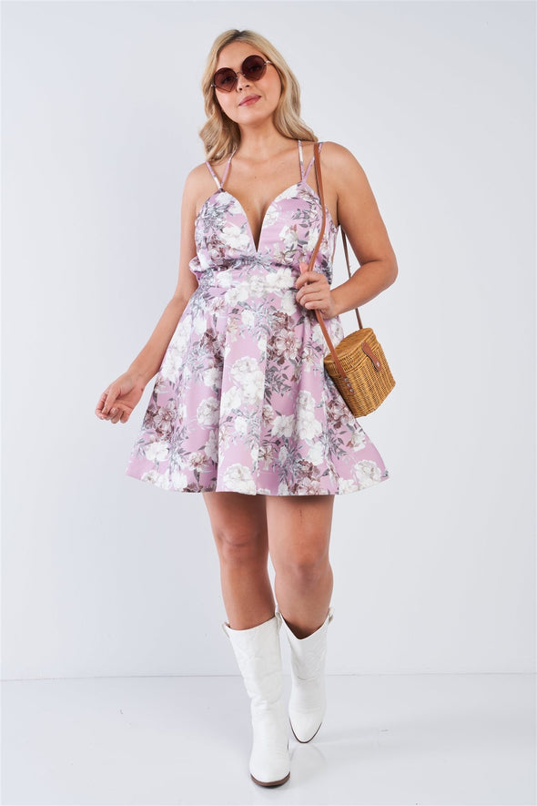 Plus Size Mauve Floral Fit & Flare Cocktail Mini Dress - Babe Shoppe
