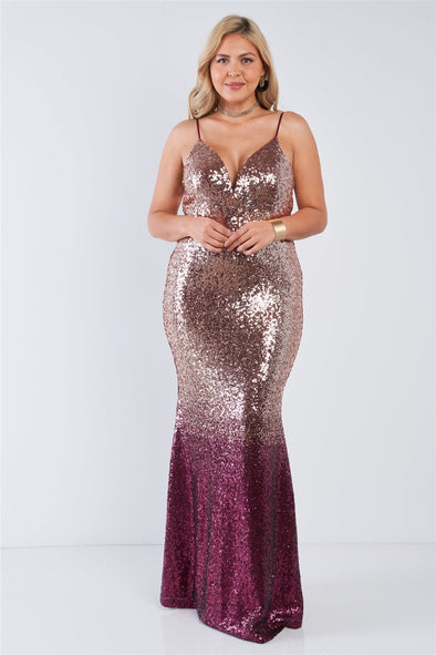 Plus Size Multi Color Sequin Ombre V-neck Gown - Babe Shoppe