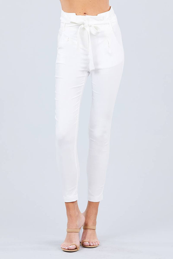 High Waisted Belted Pegged Stretch Pant - Babe Shoppe