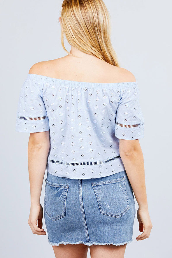 Elbow Sleeve Off The Shoulder Lace Trim Eyelet Detail Woven Top - Babe Shoppe