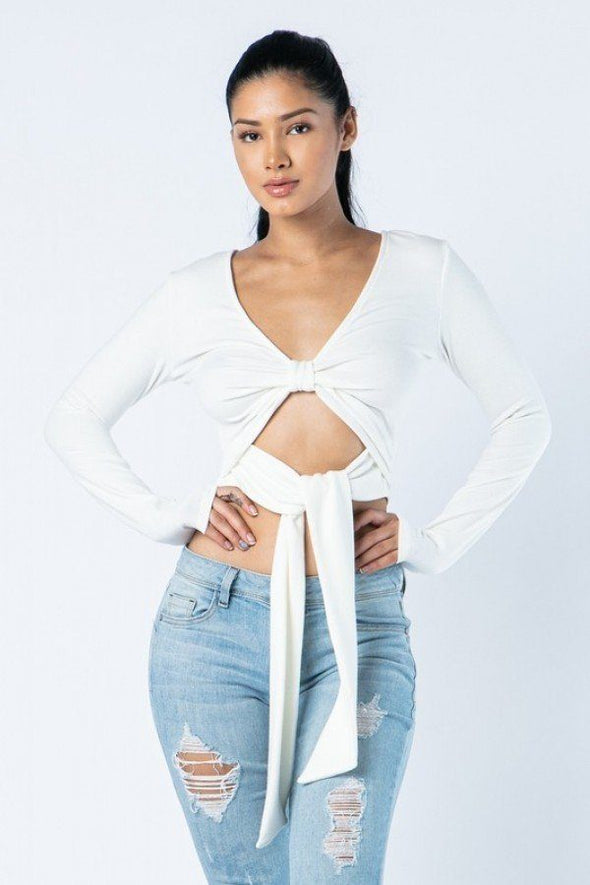Soft Heavy Knit Front Ribbon Side Band Tie Long Sleeve Crop Top - Babe Shoppe